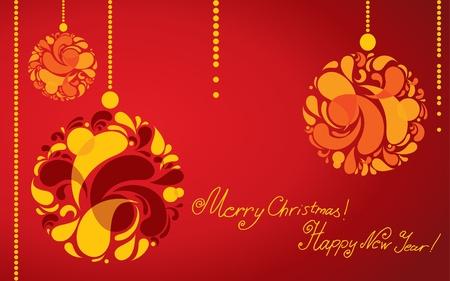 twirled: Vector sfondo decorativo con la palla di Natale (dal mio