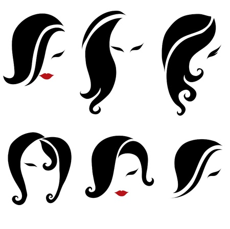Big set of black hair styling for woman (from my big  Vector