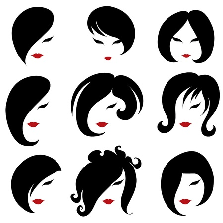 girl short hair: Big set of black hair styling for woman (from my big