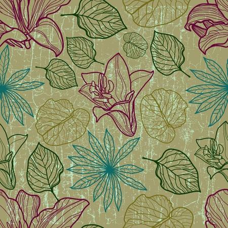 brie: Vector naadloze bloemmotief met herbarium (van mijn grote Stock Illustratie