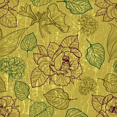 herbarium: Vector seamless floral pattern with herbarium (from my big  Illustration