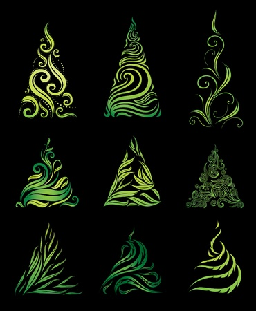 twirled: Vector set of decorative Christmas trees (from my  Illustration