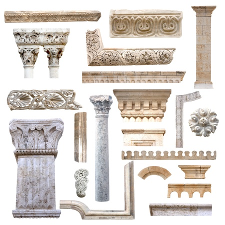 Set of isolated antique architecture details from stones