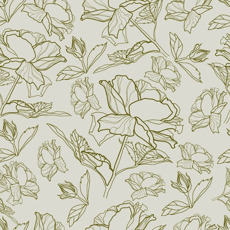 Vector seamless vintage floral pattern with roses Vector
