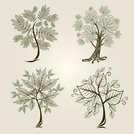 Vector set of designs with decorative tree from leafs Vector