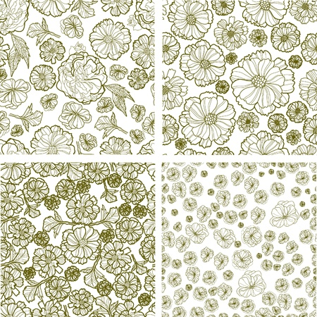Vector set of  seamless floral patterns (from my big  Stock Vector - 12093071