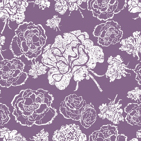 Vector seamless grunge floral pattern with flowers Vector