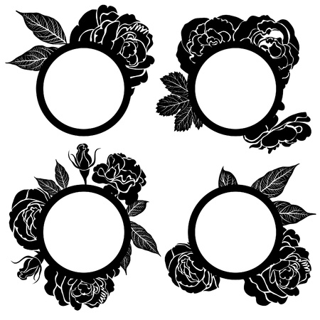 Vector set of round black vintage frames with flowers Stock Vector - 12371156
