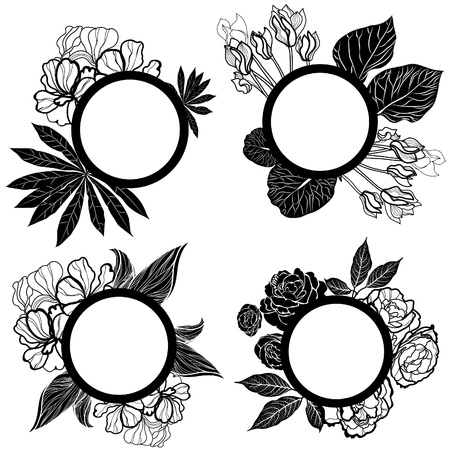 Vector set of round black vintage frames with flowers Stock Vector - 12371159