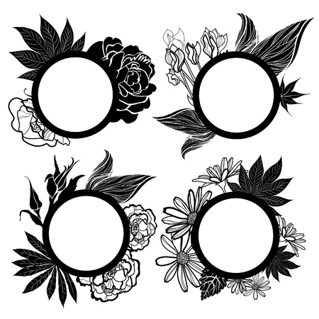Vector set of round black vintage frames with flowers Vector