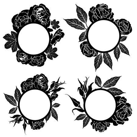 Vector set of round black vintage frames with flowers Stock Vector - 12371160
