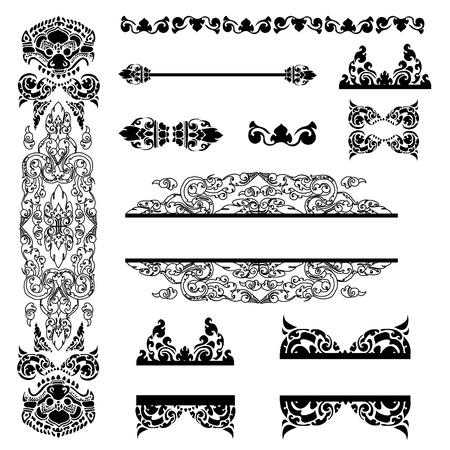ethnical: Vector set of Cambodian floral pattern