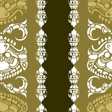cambodia: Vector seamless Cambodian floral pattern