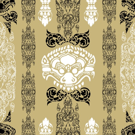 ethnical: Vector seamless Cambodian floral pattern
