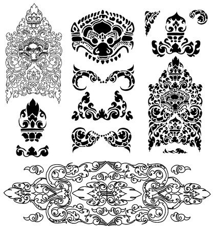 cambodia: Vector set of Cambodian floral pattern