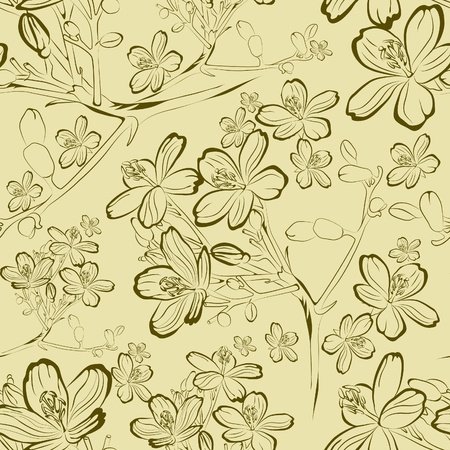 botanics: Vector seamless floral pattern with spring flowers leafs