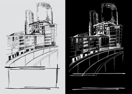 industrial landscape: Vector background con disegni a mano libera della citt�