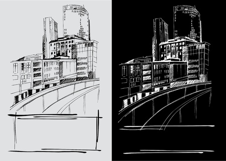 freehand: Vector background with freehand drawings of city