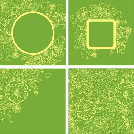 Vector set of vintage frames with colorful flowers  Stock Vector - 13137388