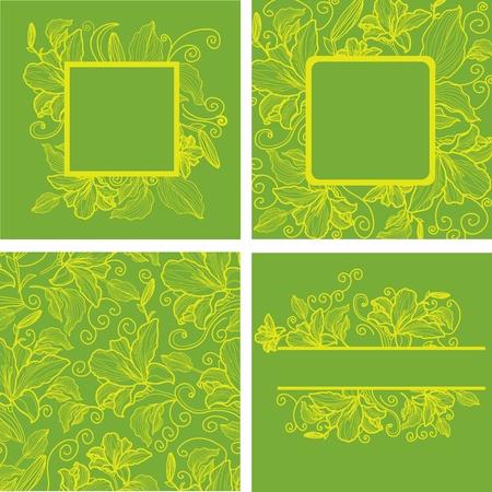 hape: Vector set di cornici d'epoca con fiori colorati