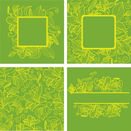 Vector set of vintage frames with colorful flowers  Vector