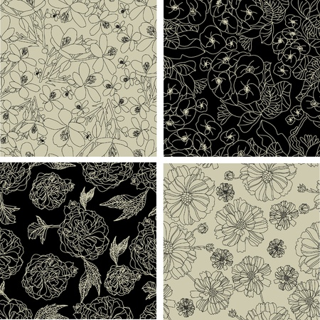 biege: Vector set of seamless floral patterns with spring flowers