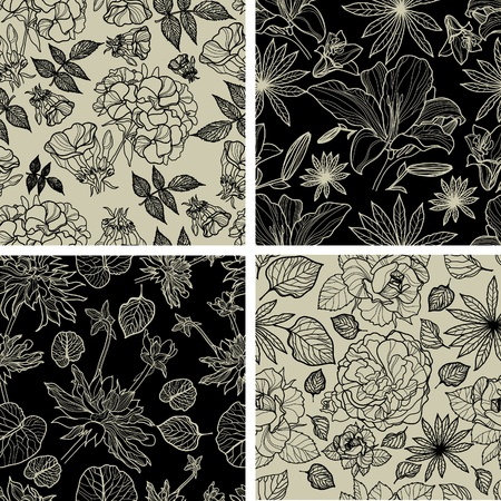Vector set of seamless floral patterns with spring flowers Vector