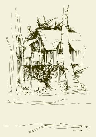 Vector achtergrond met de vrije hand tekeningen van bungalow Vector Illustratie