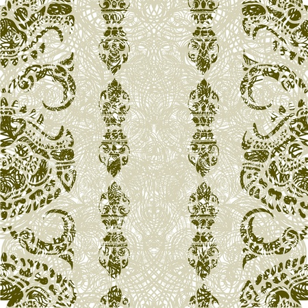 Seamless grunge Cambodian floral pattern Vector
