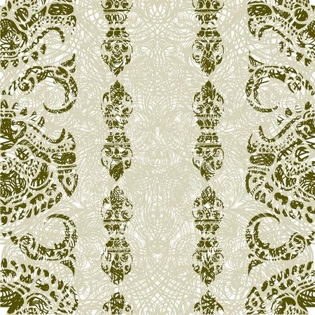 Seamless grunge Cambodian floral pattern