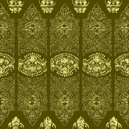scuff: Seamless grunge Cambodian floral pattern