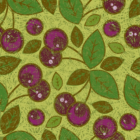 Grunge pattern with cherries and leafs Vector