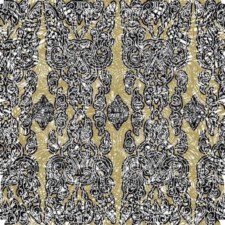 floral grunge: Seamless grunge Cambodian floral pattern