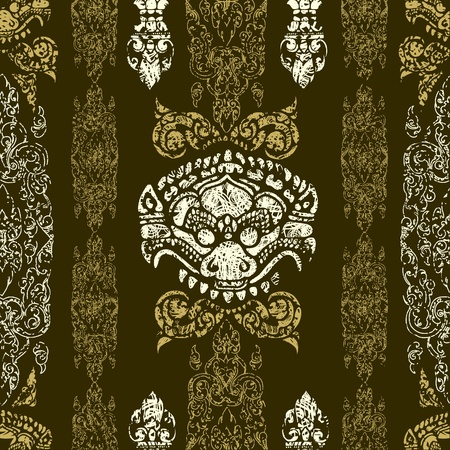 cambodia: Seamless grunge Cambodian floral pattern