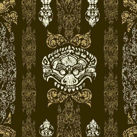 cambodia: Seamless grunge Cambodian floral pattern