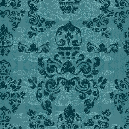 ethnical: Seamless grunge Cambodian floral pattern