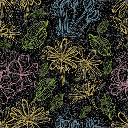 herbary: Seamless floral grunge pattern with flowers Illustration