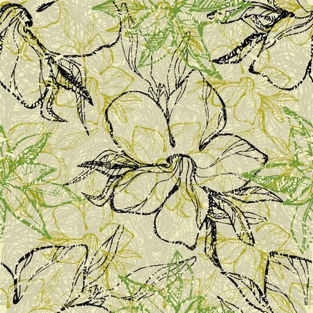 botanics: Seamless floral grunge pattern with flowers Illustration