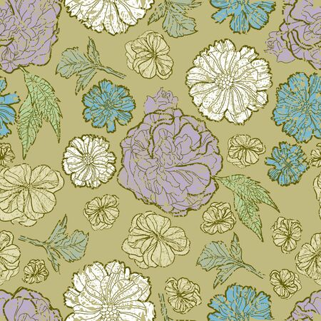 Seamless floral grunge pattern with flowers Vector
