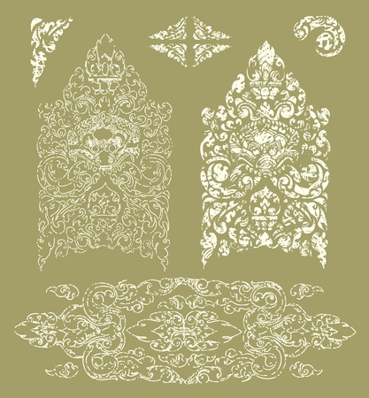 set of grunge Cambodian floral pattern  Vector