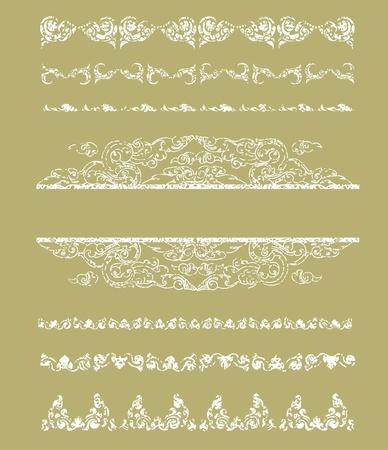 craquelure: set of grunge Cambodian floral pattern