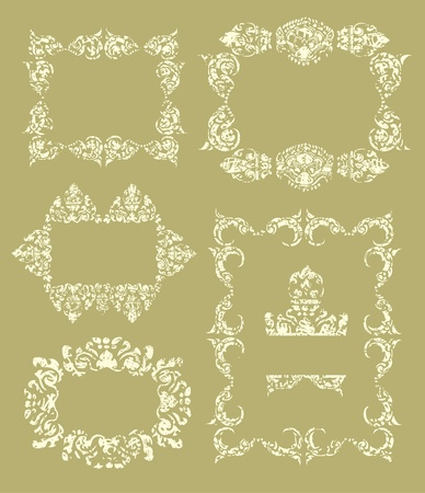 set of grunge Cambodian floral pattern Stock Vector - 13215370