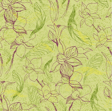 Vector seamless floral grunge pattern with flowers and leafs - orchid Vector