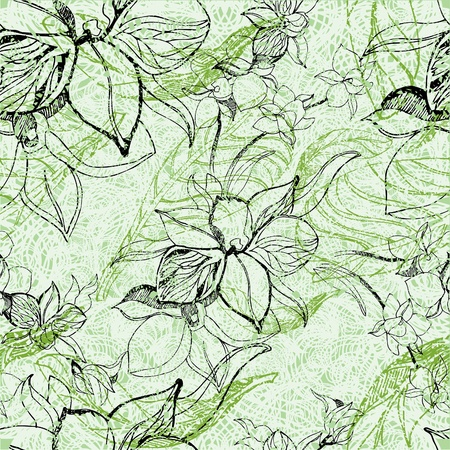 herbary: Vector seamless floral grunge pattern with flowers and leafs - orchid