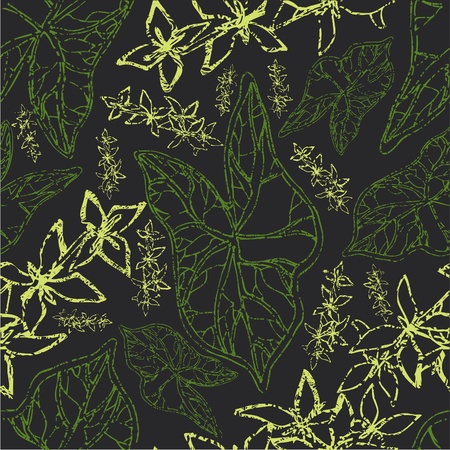 herbary: Vector seamless floral grunge pattern with leafs