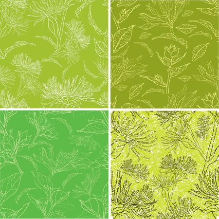 craquelure: Vector set of seamless floral grunge patterns with flowers and leafs