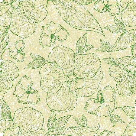 craquelure: Vector seamless floral grunge patterns with orchid flowers and leafs Illustration