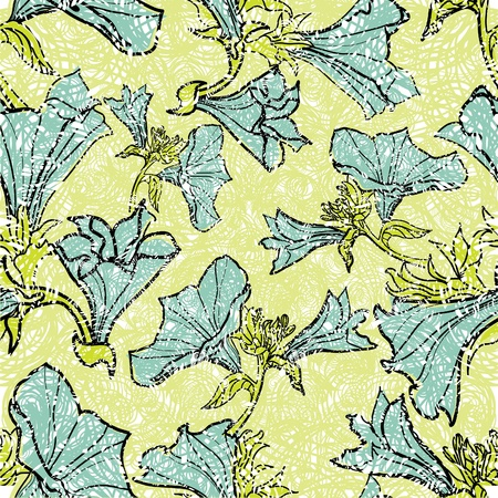 craquelure: Vector seamless floral grunge patterns with flowers and leafs