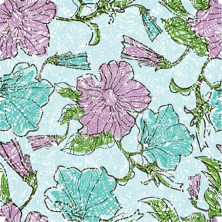 Vector seamless floral grunge patterns with flowers and leafs Vector