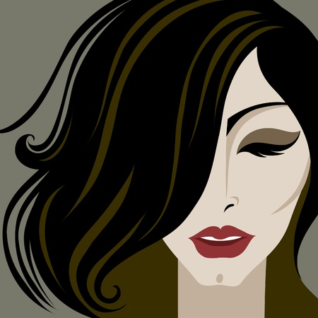 hairdress: closeup decorative portrait of woman with make-up and long hair Illustration